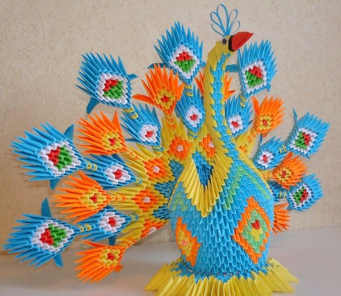 Оригами схема павлин
