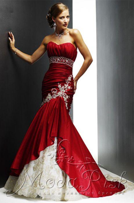 Вечернее платье красное с белым