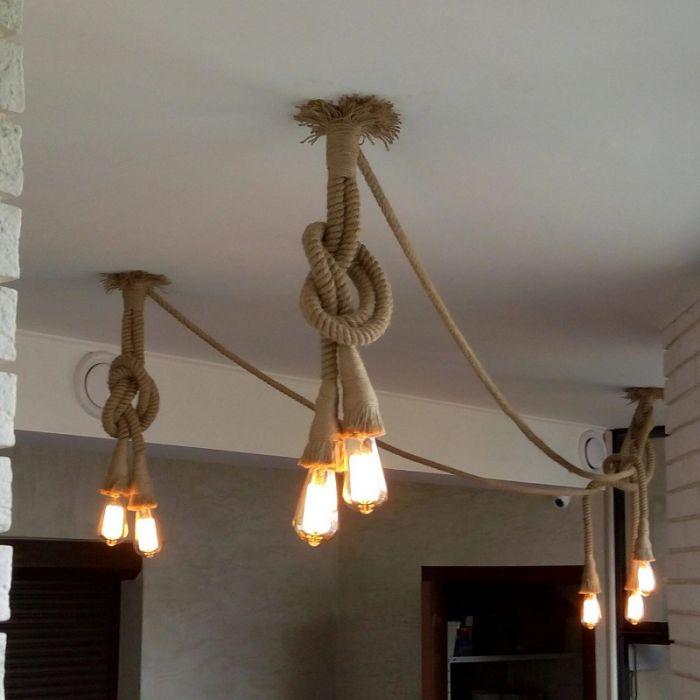 Светильник своими руками из веревки и клея